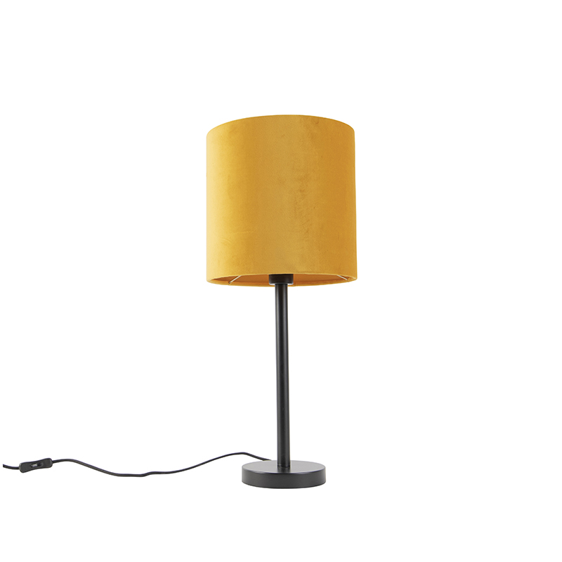 Art Deco tafellamp zwart met gele kap 25 cm - Simplo