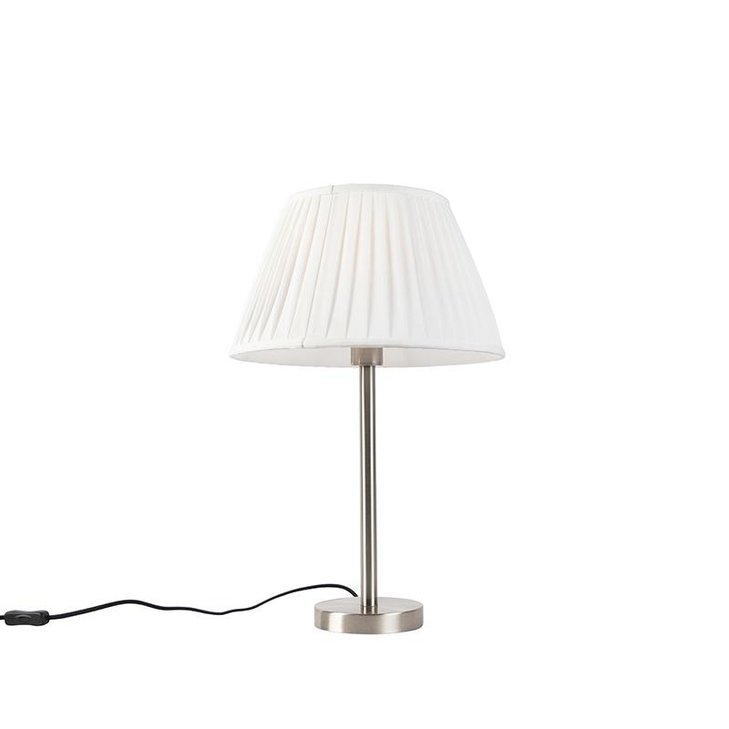 Klassiek tafellamp staal met plissé kap wit 35 cm - Simplo