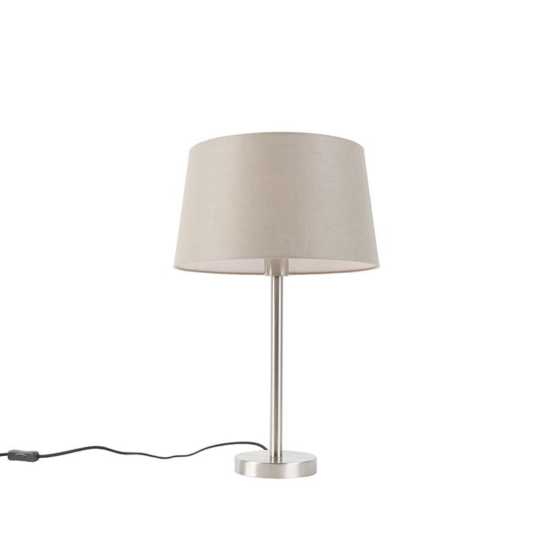 Moderne tafellamp staal met taupe kap 35 cm - Simplo