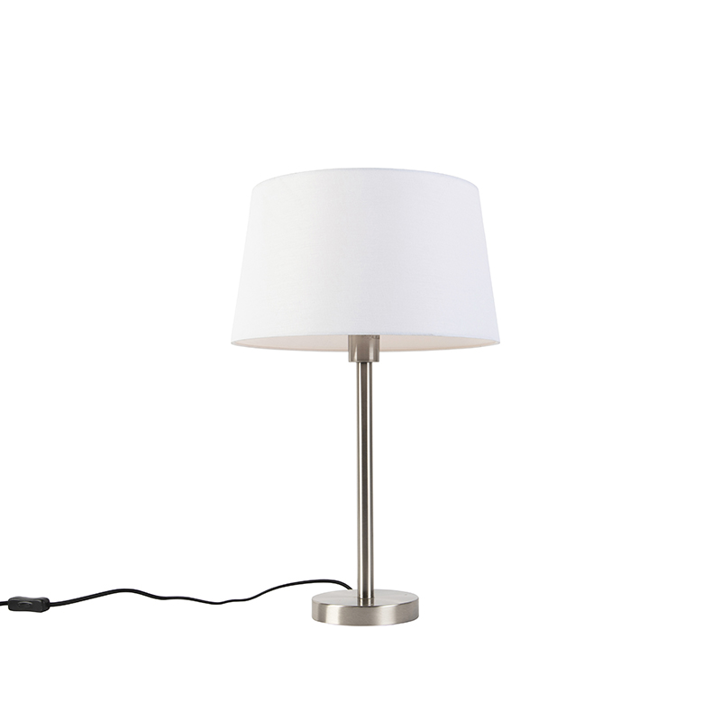 Moderne tafellamp staal met witte kap 32 cm - Simplo