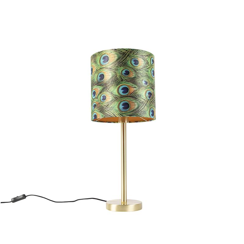 Botanische tafellamp messing met pauw kap 25 cm - Simplo