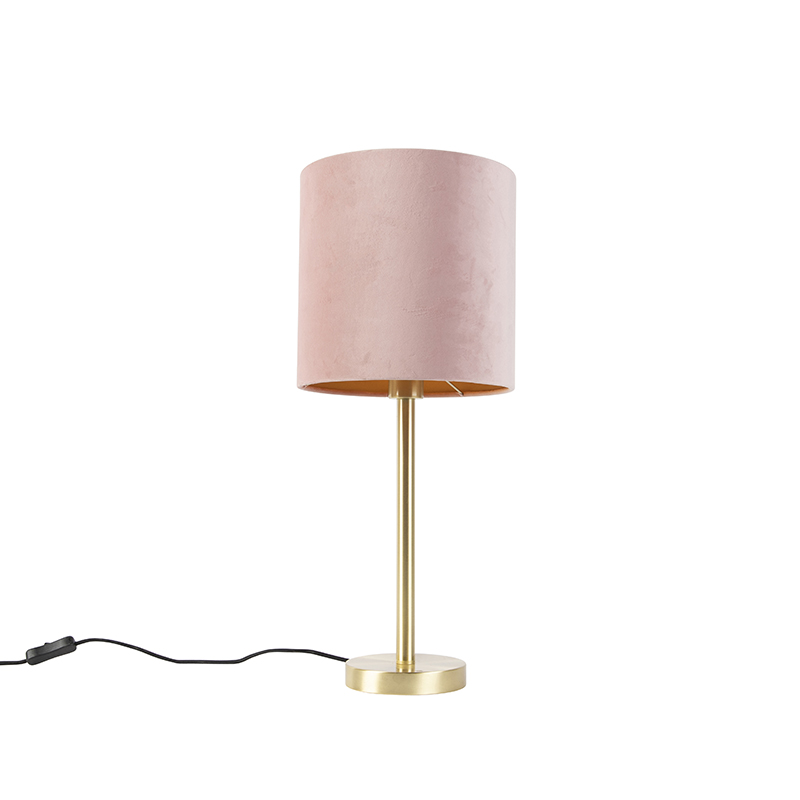 Romantische tafellamp messing met roze kap 25 cm - Simplo
