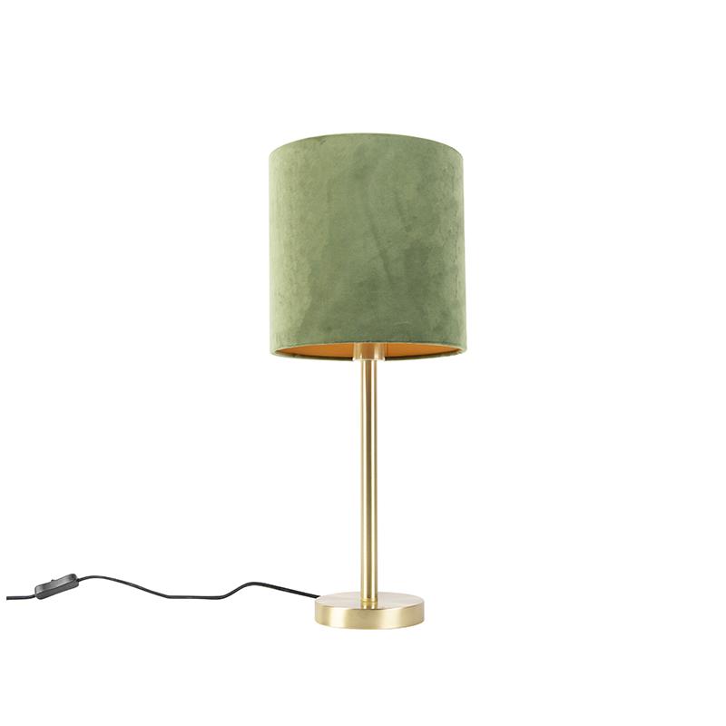 Botanische tafellamp messing met groene kap 25 cm - Simplo