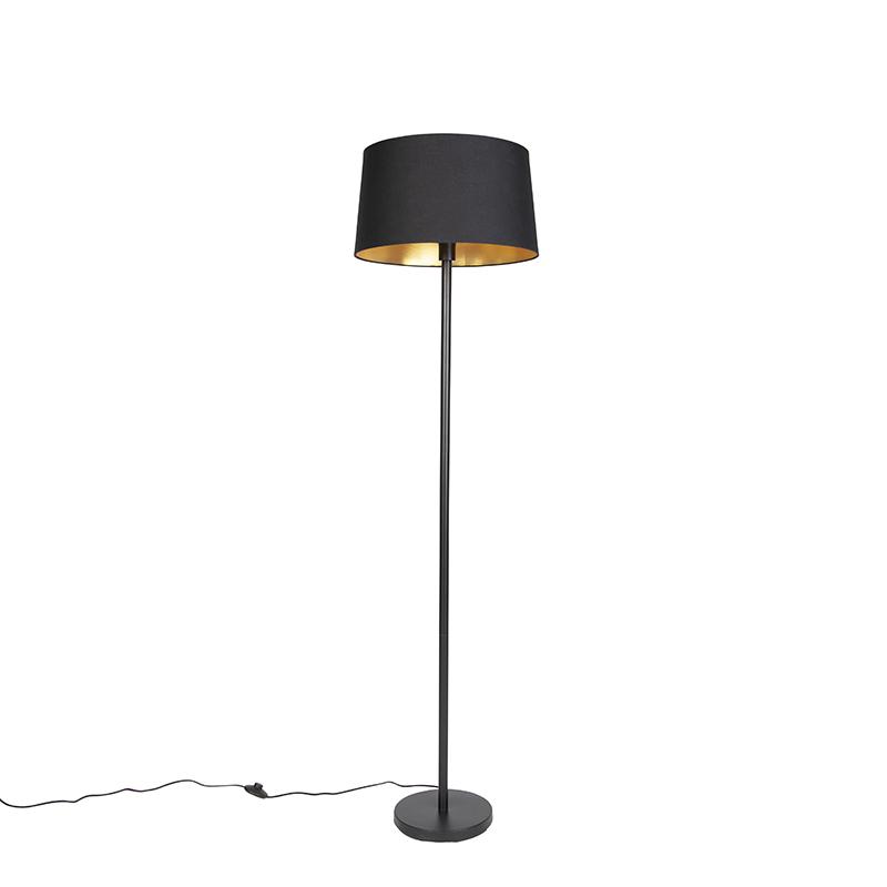 Moderne vloerlamp zwart met zwarte kap 45 cm - Simplo