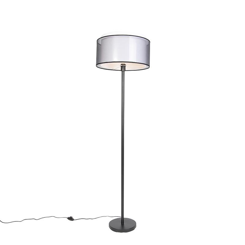 Lampa podłogowa czarna klosz biało-czarny 47cm - Simplo