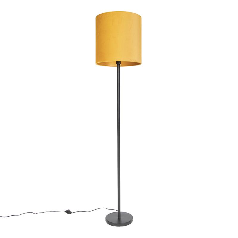Art Deco vloerlamp zwart met gele kap 40 cm - Simplo
