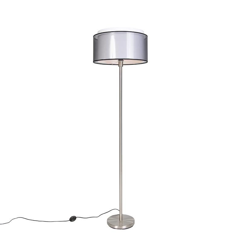 Design vloerlamp staal met zwart-wit kap 47 cm - Simplo