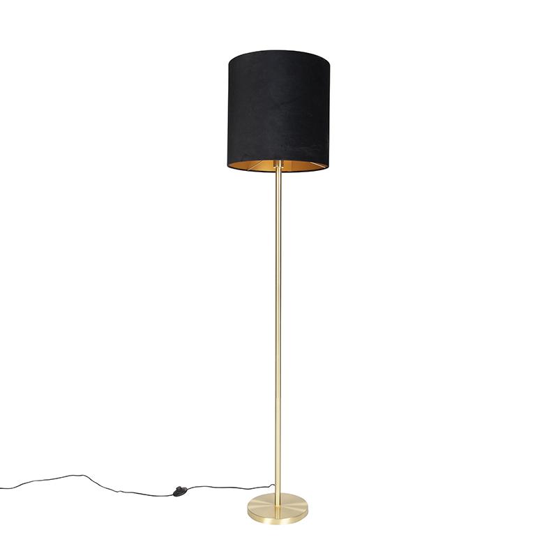 Klassieke vloerlamp messing met zwarte kap 40 cm - Simplo