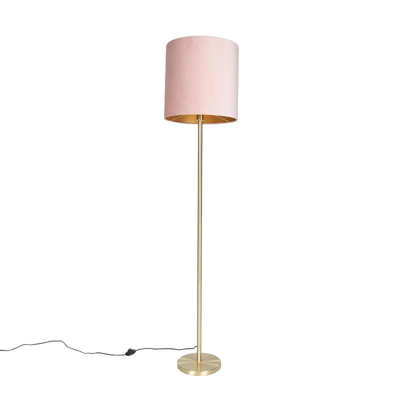 Romantische vloerlamp messing met roze kap 40 cm - Simplo