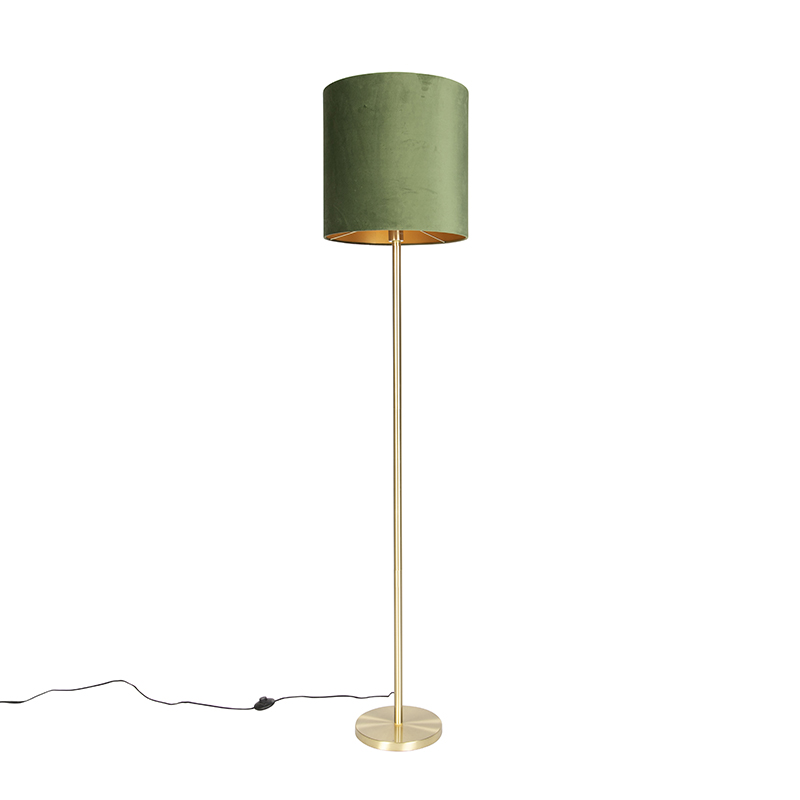 Botanische vloerlamp messing met groene kap 40 cm - Simplo