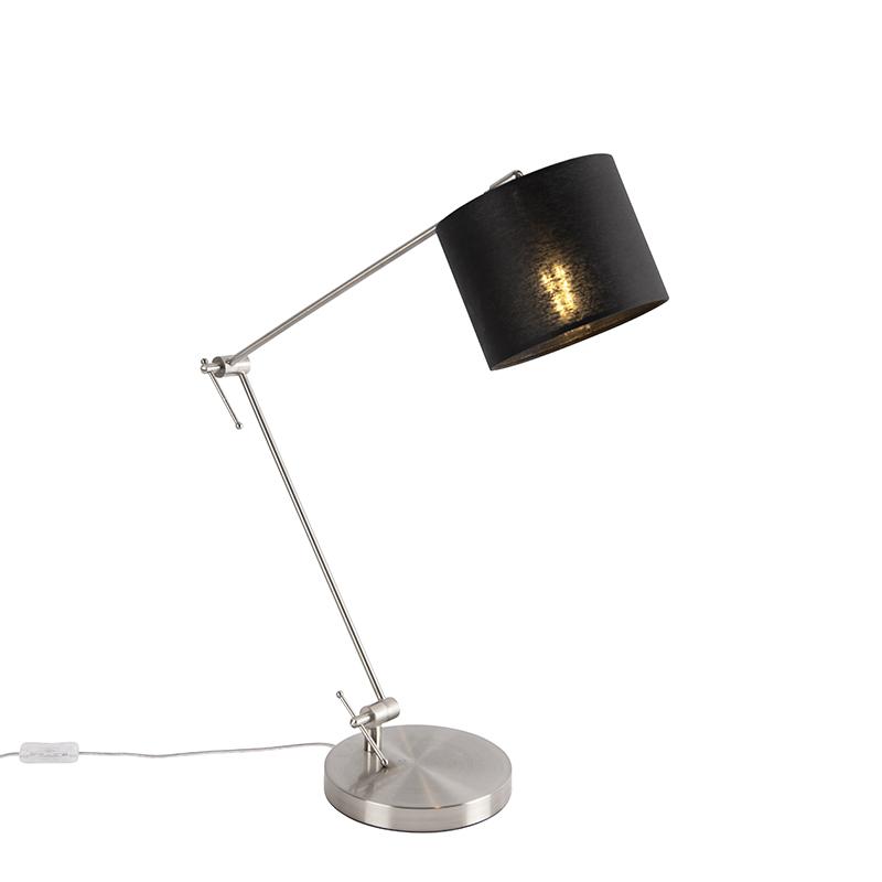 Design tafellamp staal met zwarte kap 18 cm - Editor