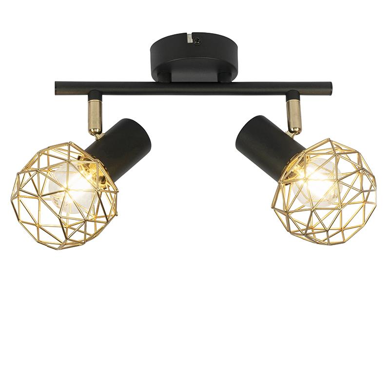 Design spot czarny ze złotym 2-light - Mesh