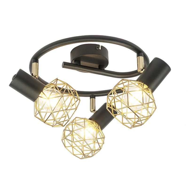 Design spot zwart met goud 3-lichts verstelbaar - Mesh