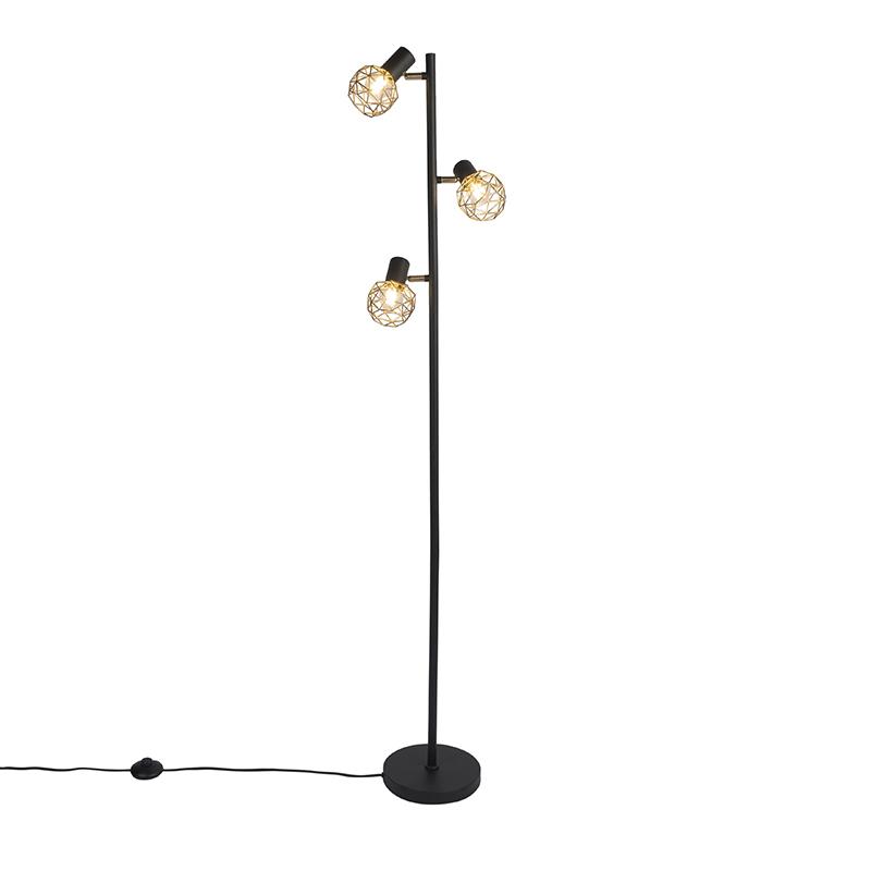 Designerska lampa podłogowa czarna ze złotą regulacją 3 światła - Siatka