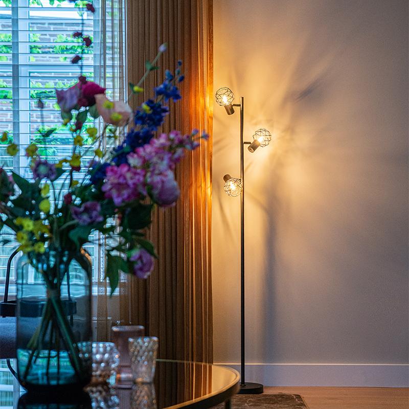 Design vloerlamp zwart 3-lichts verstelbaar - Mesh