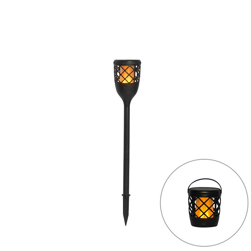Prikspot zwart incl. LED solar met flame effect - Toci