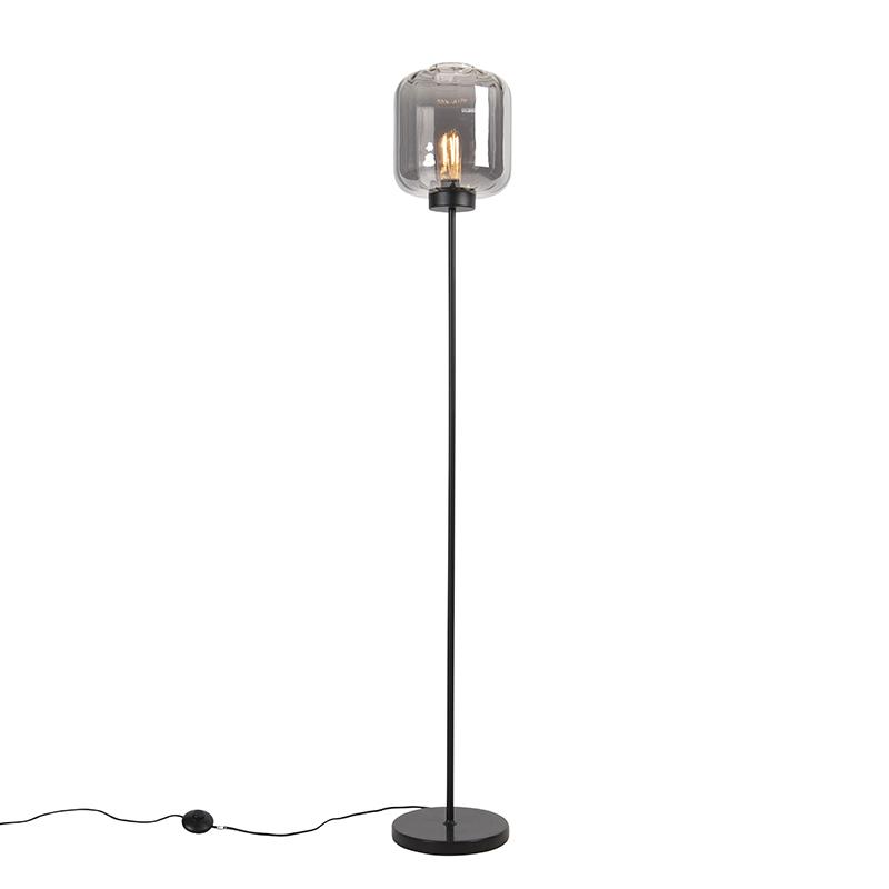 Designerska lampa podłogowa czarna ze szkłem dymnym - Qara
