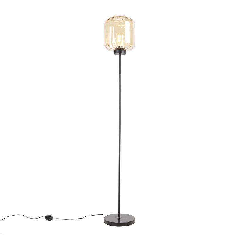 Designerska lampa podłogowa czarna z bursztynowym szkłem - Qara