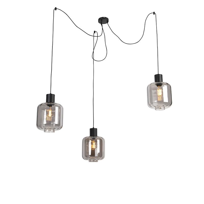 Designerska lampa wisząca czarna z dymnym szkłem 3-punktowym 226 cm - Qara