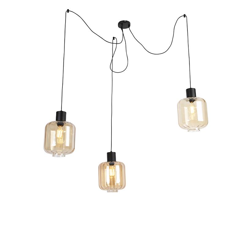 Design hanglamp zwart met amber glas 3-lichts 226 cm - Qara