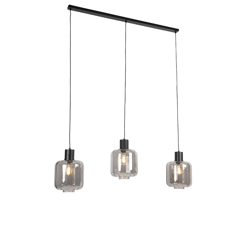 Design hanglamp zwart met smoke glas 3-lichts 161,5 cm - Qara