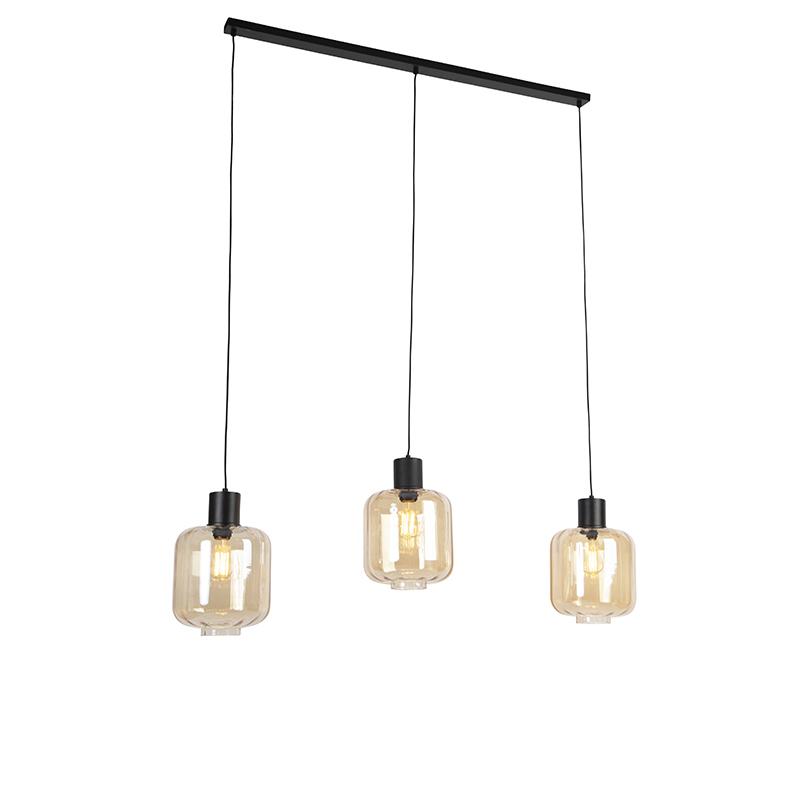 Designerska lampa wisząca czarna z bursztynowym szkłem 3-punktowym 161,5 cm - Qara