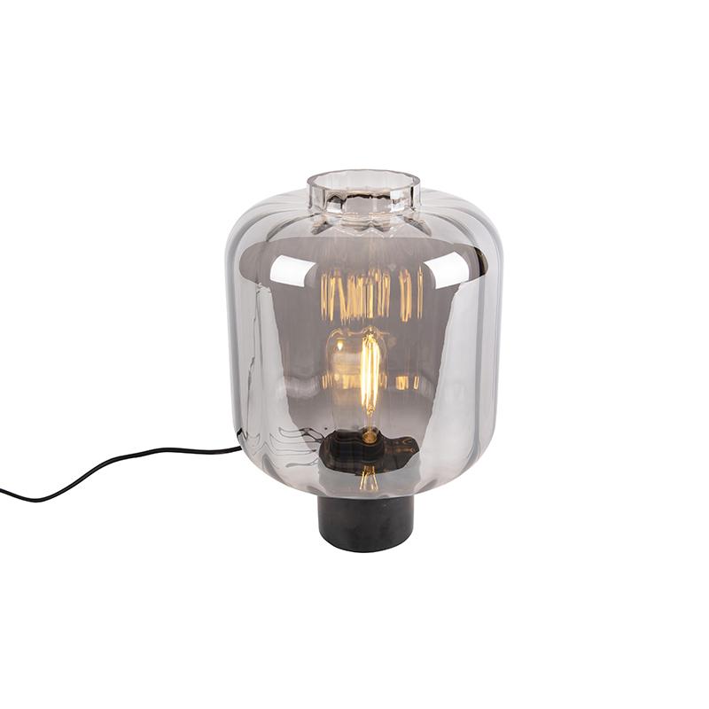 Designerska lampa stołowa czarna ze szkłem dymnym - Qara