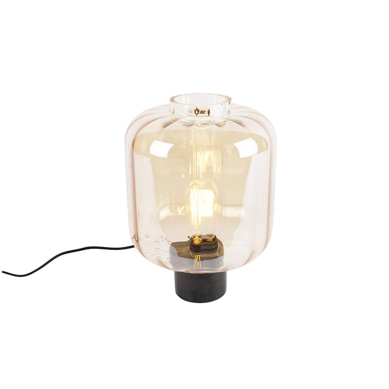 Designerska lampa stołowa czarna z bursztynowym szkłem - Qara