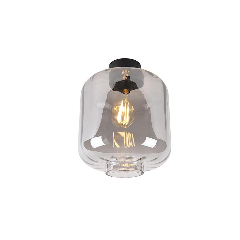 Design plafondlamp zwart met smoke glas - Qara