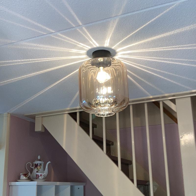 Design plafondlamp zwart met amber glas - Qara