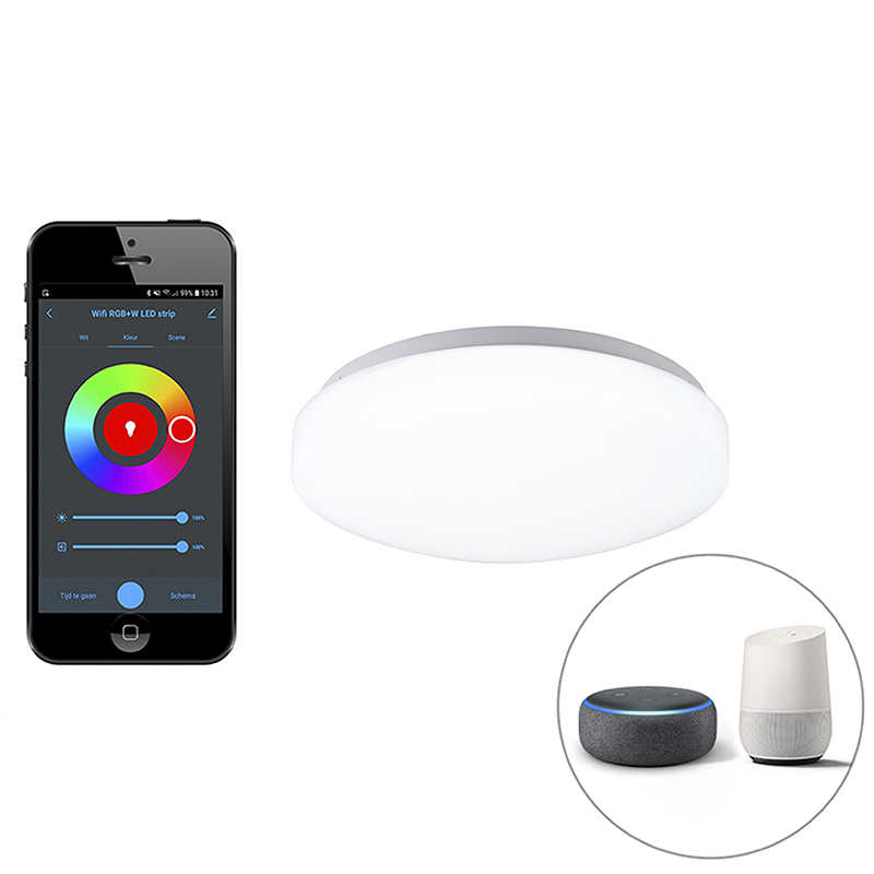 Moderne smart plafonni�re wit incl. LED met app - Marti