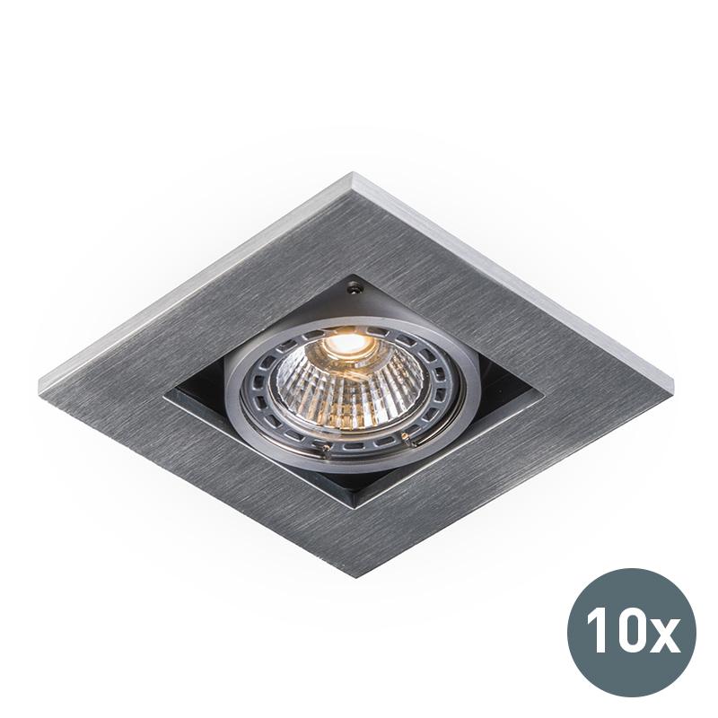 Set van 10 moderne inbouwspots aluminium 3 mm dik - Qure
