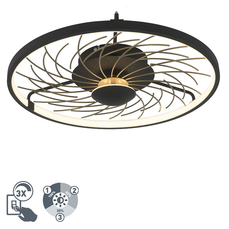 Designerski plafon czarno-złoty 3-stopniowe ściemnianie LED - Spaak