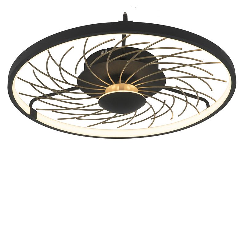 Dizajnové stropné svietidlo čierne so zlatým 3-stupňovým stmievateľným - Spaak