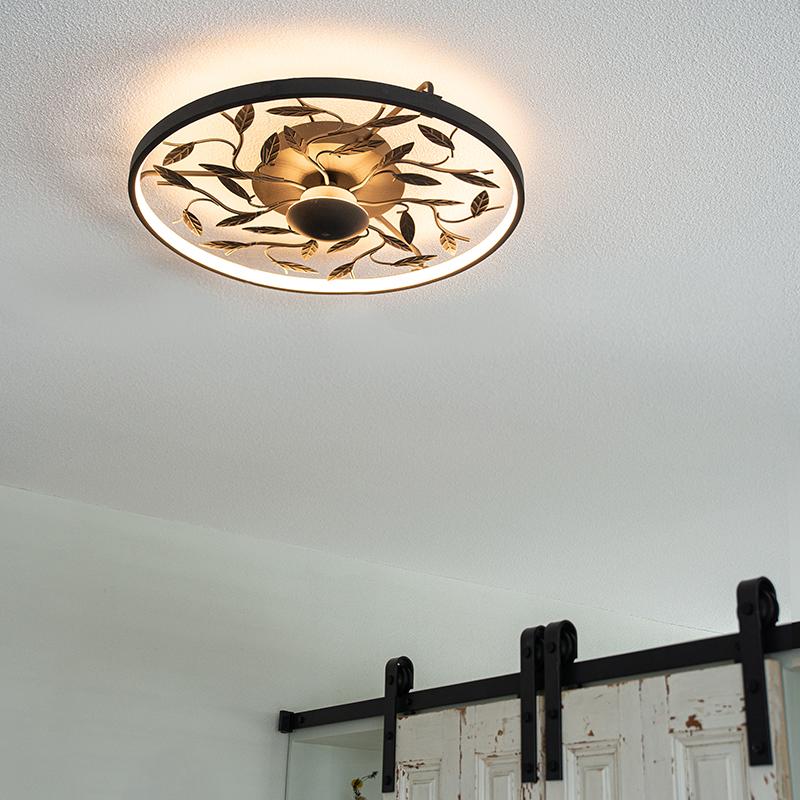 Art Deco plafonnière zwart 3-staps dimbaar - Bota