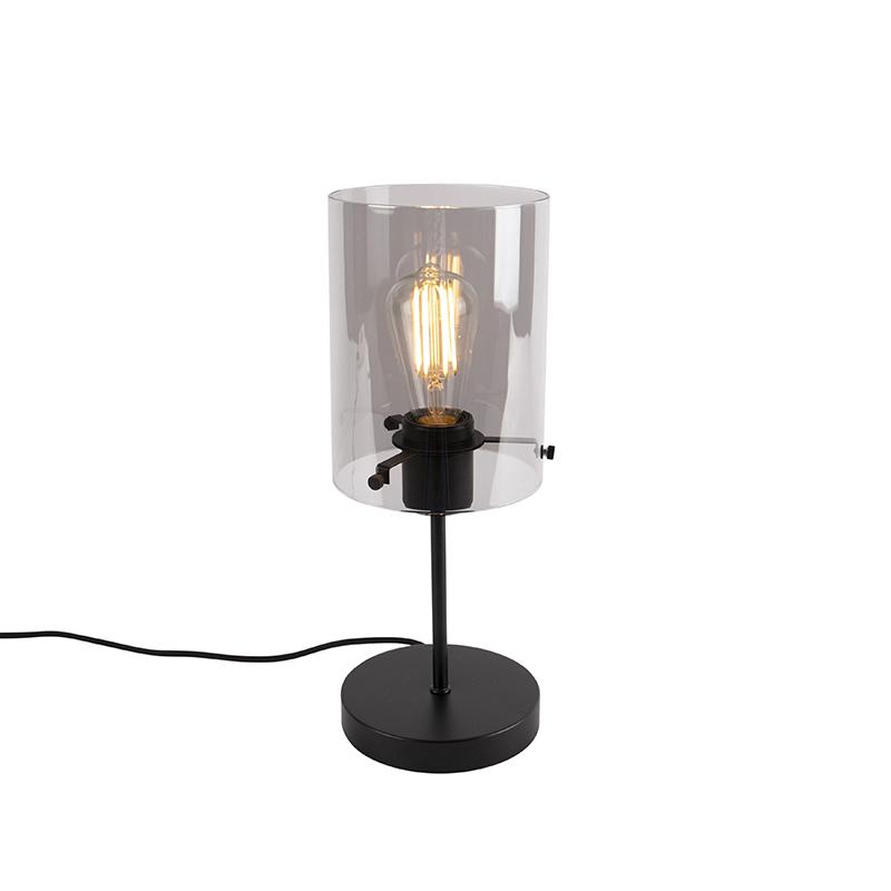 Designerska lampa stołowa czarna przydymione szkło - Dome