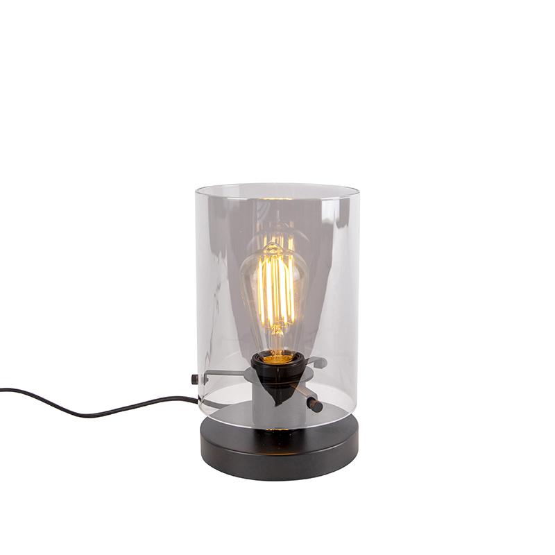 Designerska lampa stołowa czarna przydymione szkło 25cm - Dome