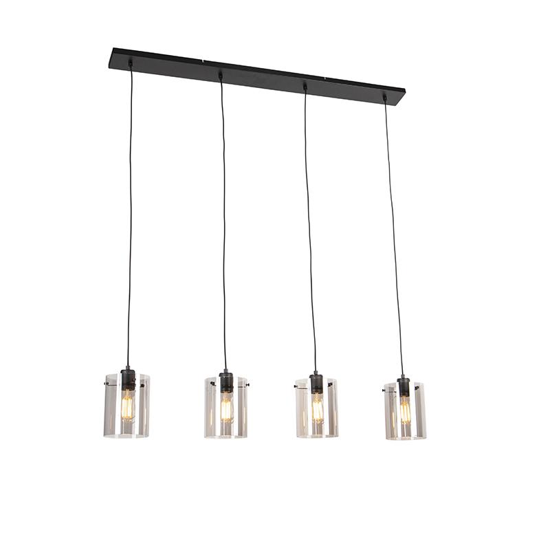 Designerska lampa wisząca czarna przydymione szkło 4-źródła światła - Dome