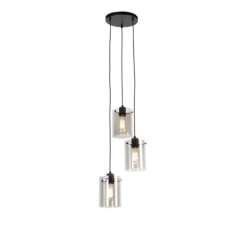 Designerska lampa wisząca czarna przydymione szkło 3-źródła światła - Dome