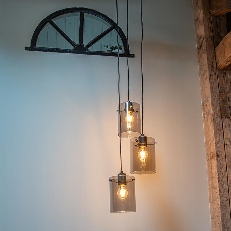 Design hanglamp zwart met smoke glas 3-lichts - Dome
