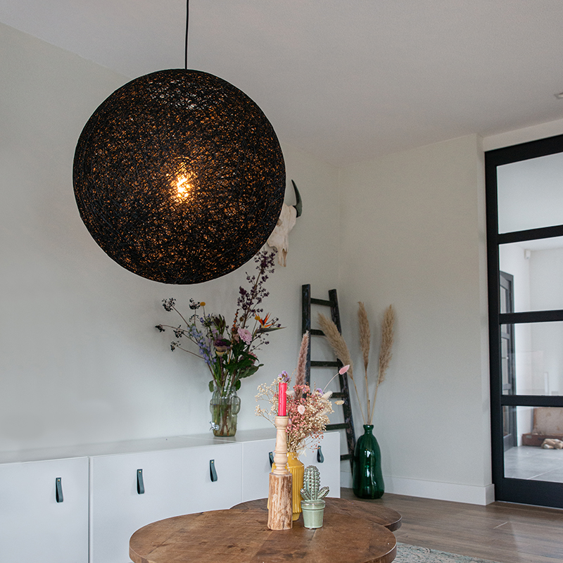 Landelijke hanglamp zwart 60 cm - Corda