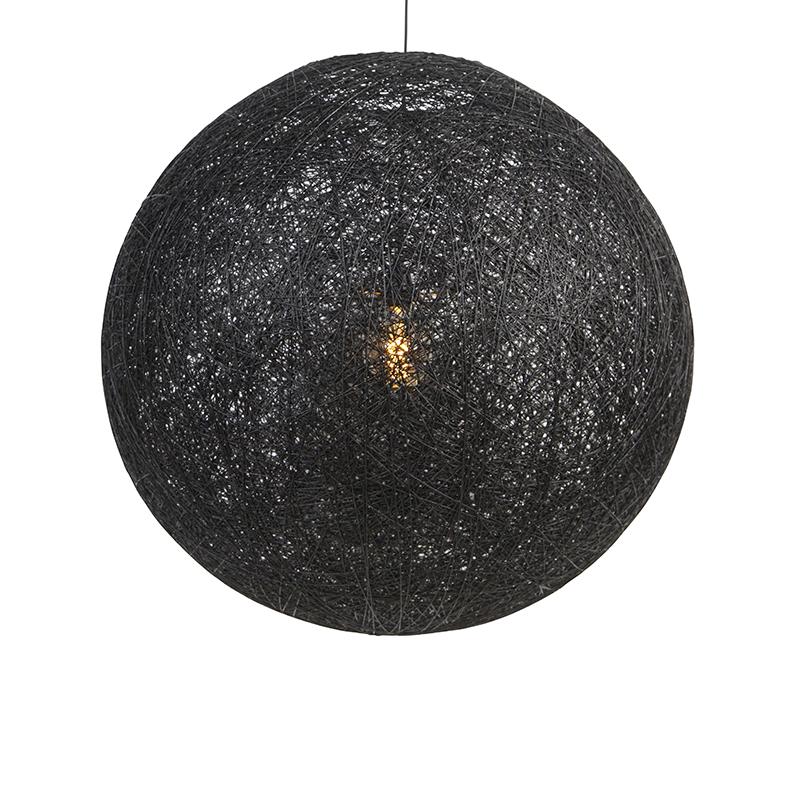 Wiejska lampa wisząca czarna 80 cm - Corda