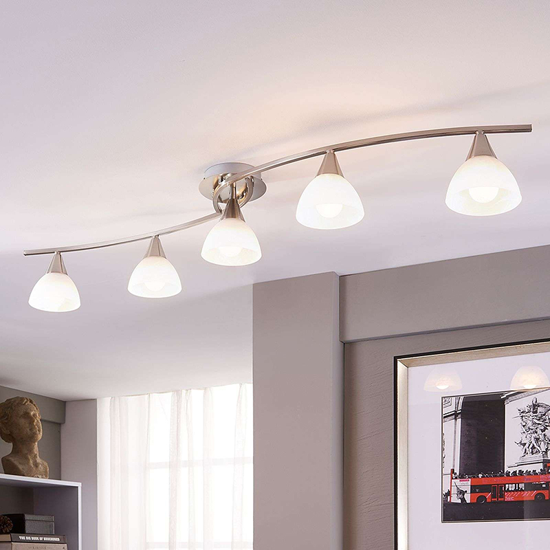 Klassieke plafondlamp staal met glas 5-lichts incl. LED - Della