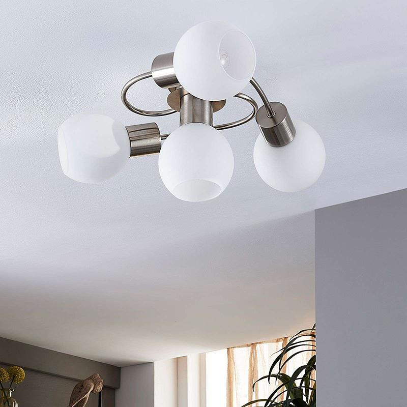 Moderne plafondlamp staal met glas incl. LED - Ciala