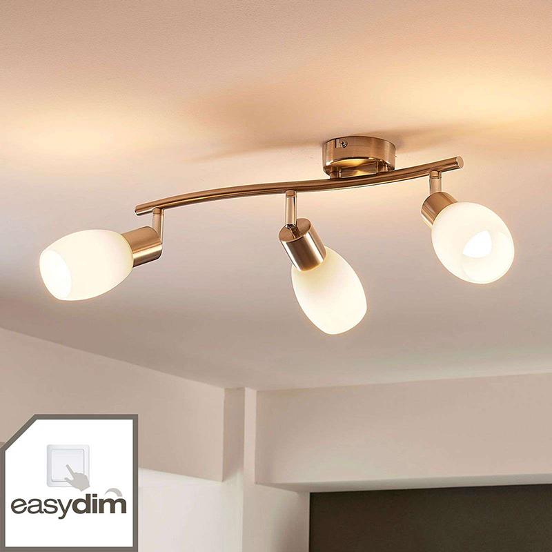 Klassieke plafondlamp staal lang 3-lichts incl. LED en easydim- Arda