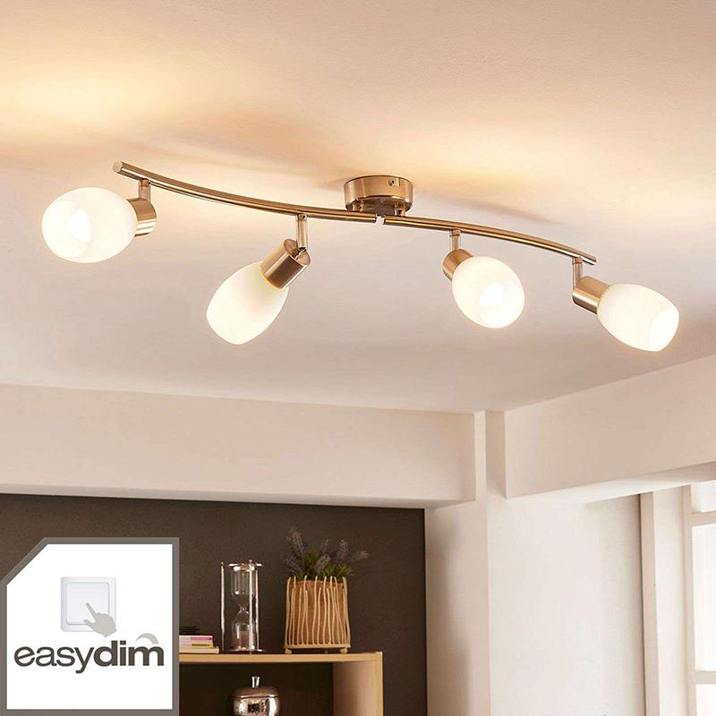 Klassieke plafondlamp staal lang 4-lichts incl. LED en easydim- Arda
