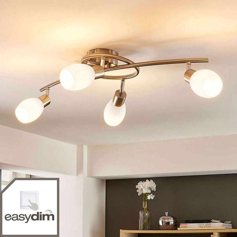 Plafondlamp chroom incl. E14 en easydim 4-lichts verstelbaar - Arda