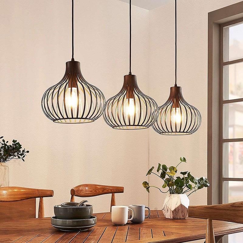 Moderne hanglamp bruin 3-lichts - Frances