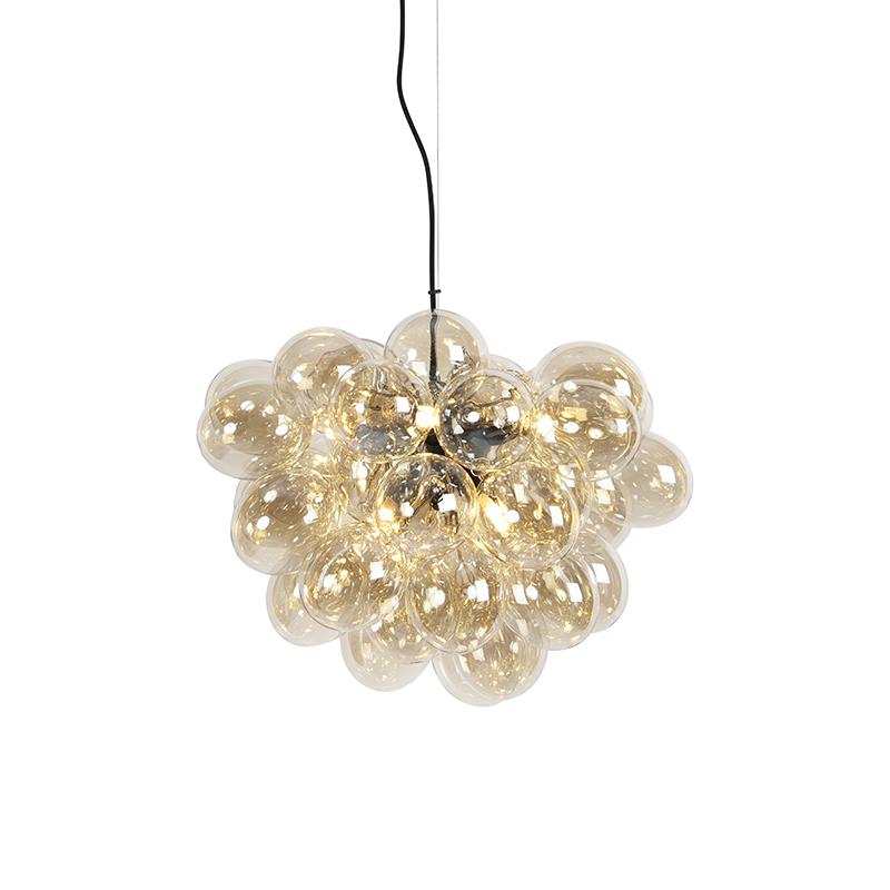 Designerska lampa wisząca czarna szkło bursztynowe 8-źródeł światła - Uvas