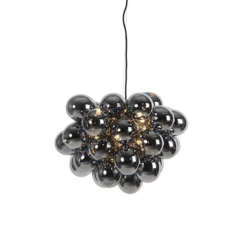 Design hanglamp zwart met smoke glas 8-lichts - Uvas